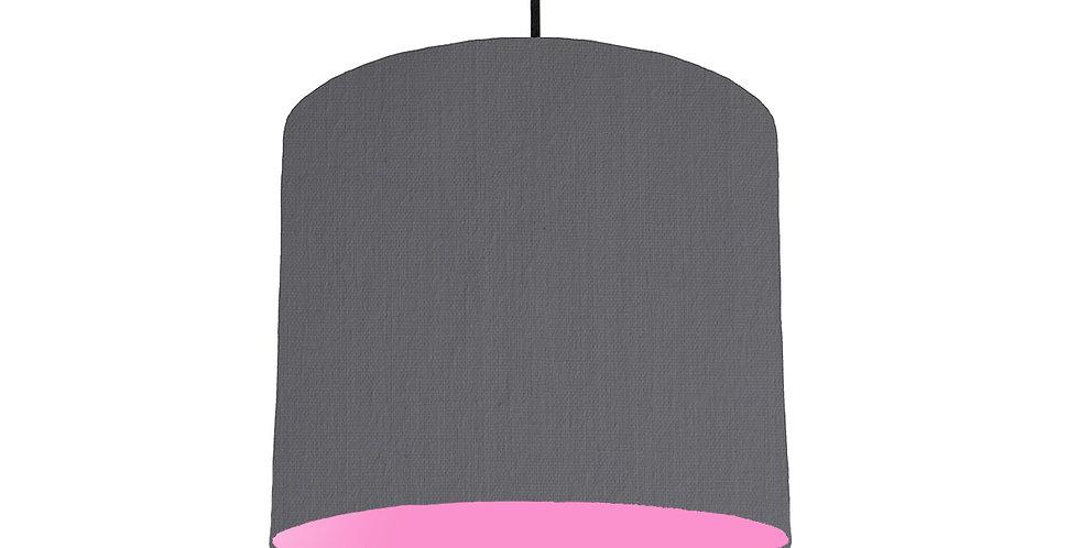 Dark Grey & Pink Lampshade - 25cm Wide