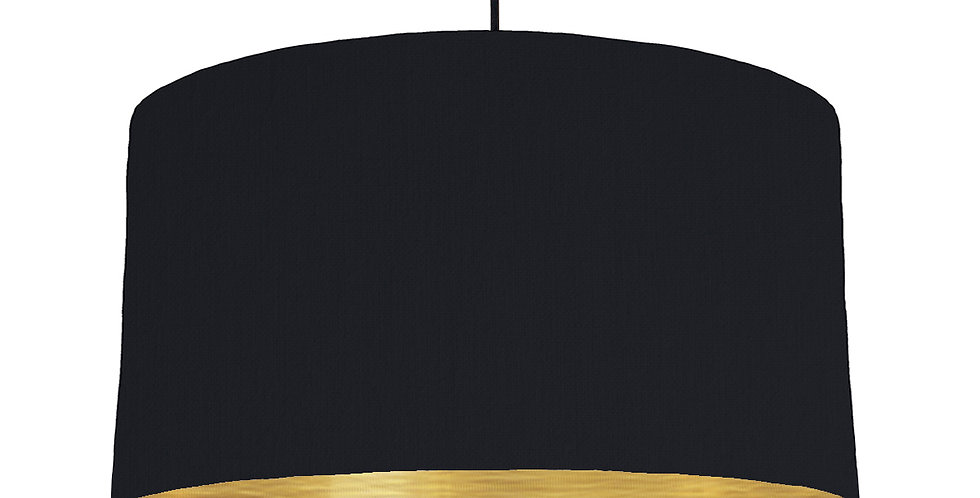 Black & Brushed Gold Lampshade - 50cm Wide