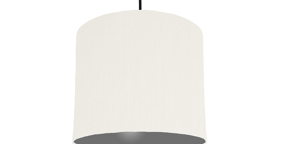 White & Dark Grey Lampshade - 25cm Wide