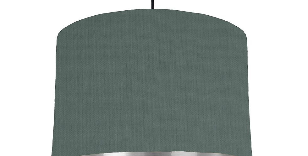 Bottle Green & Silver Mirrored Lampshade - 30cm Wide