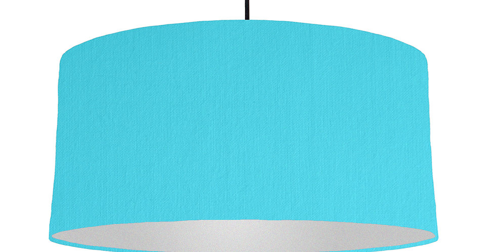 Turquoise & Silver Matt Lampshade - 60cm Wide