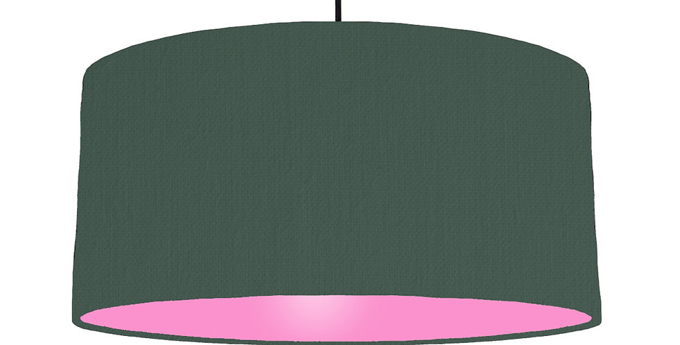 Bottle Green & Pink Lampshade - 60cm Wide