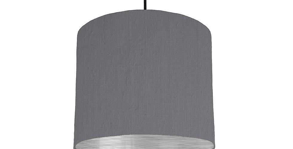 Dark Grey & Brushed Silver Lampshade - 25cm Wide