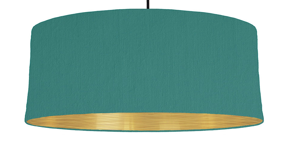 Jade Green & Brushed Gold Lampshade - 70cm Wide
