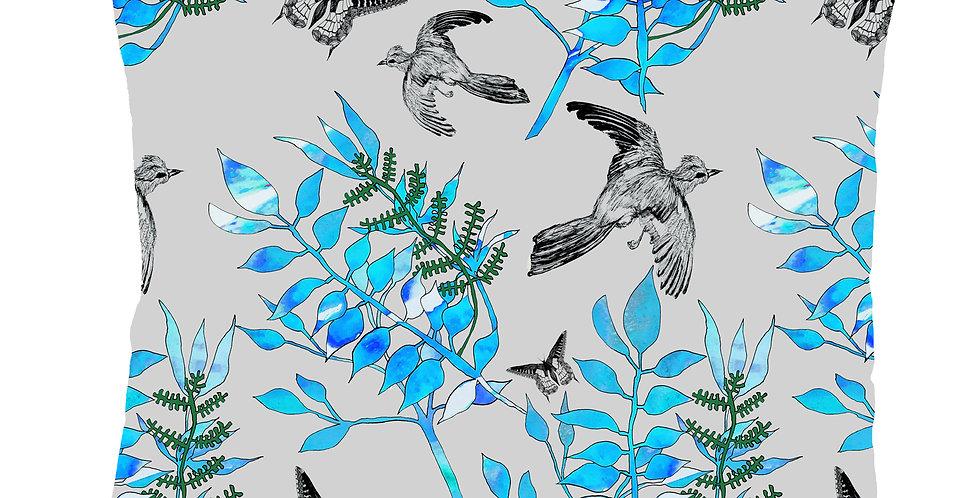 Botanical Bird Velvet Cushion - Grey