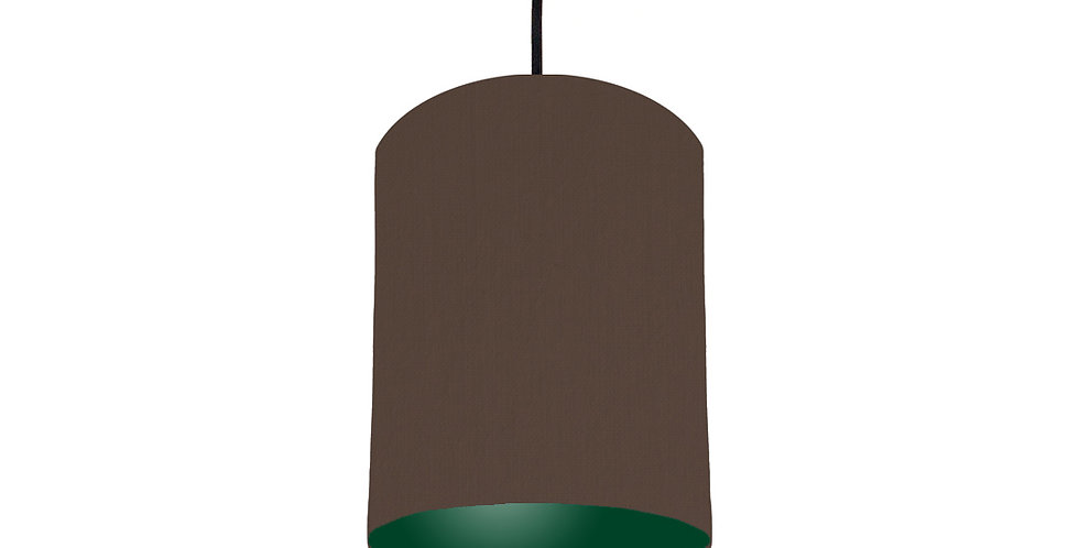 Brown & Forest Green Lampshade - 15cm Wide