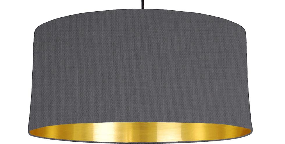 Dark Grey & Gold Mirrored Lampshade - 60cm Wide