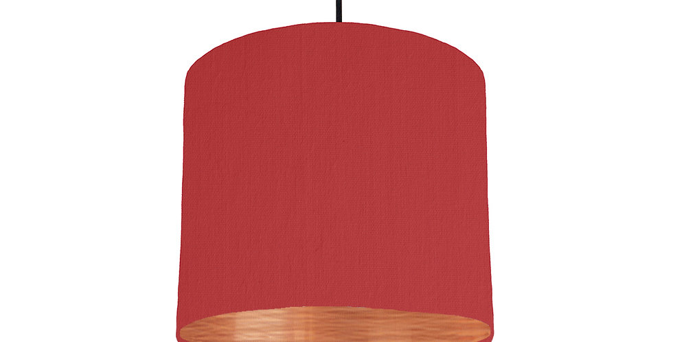 Red & Brushed Copper Lampshade - 25cm Wide