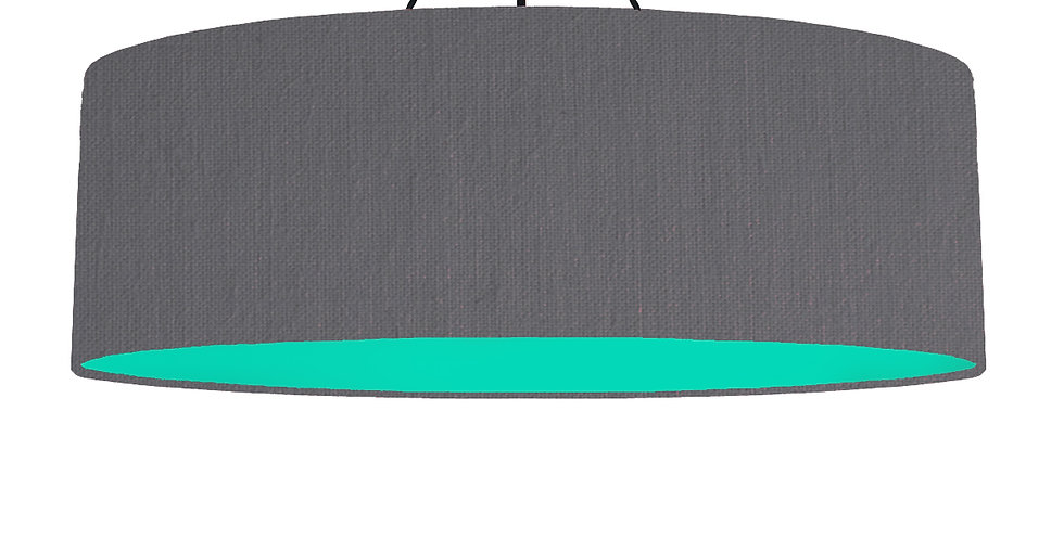 Dark Grey & Turquoise Lampshade - 100cm Wide