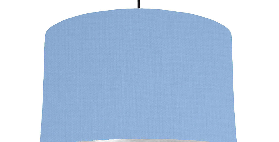 Sky Blue & Brushed Silver Lampshade - 40cm Wide