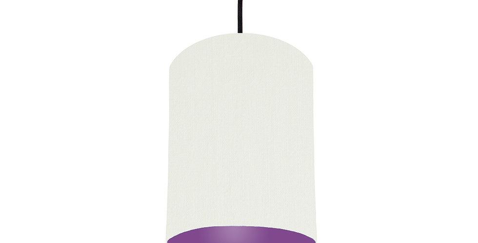 White & Purple Lampshade - 15cm Wide