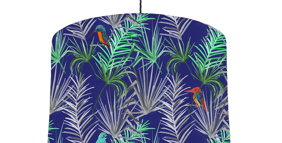 Tropical Bird Lampshade (Blue) - White Lining
