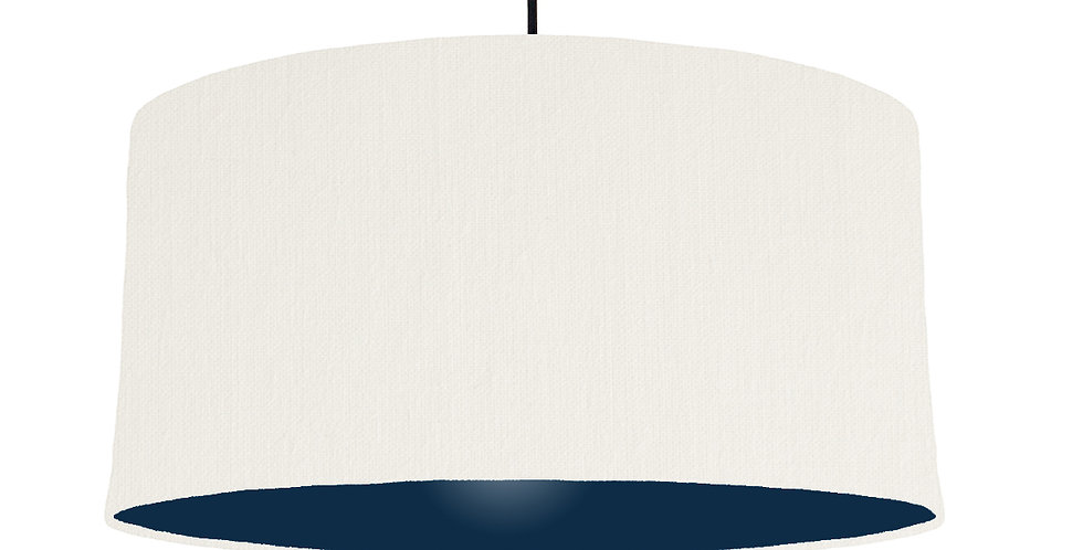 White & Navy Lampshade - 60cm Wide