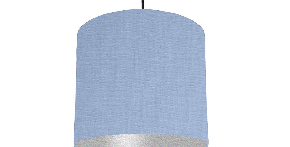 Sky Blue & Silver Matt Lampshade - 25cm Wide