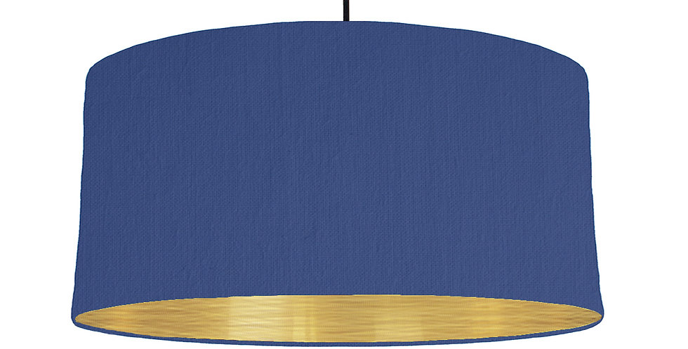 Royal Blue & Brushed Gold Lampshade - 60cm Wide