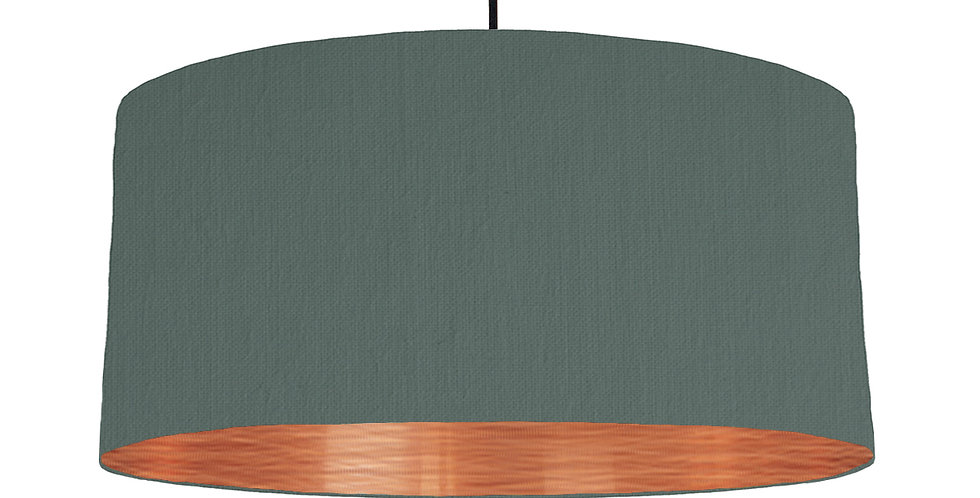 Bottle Green & Brushed Copper Lampshade - 60cm Wide