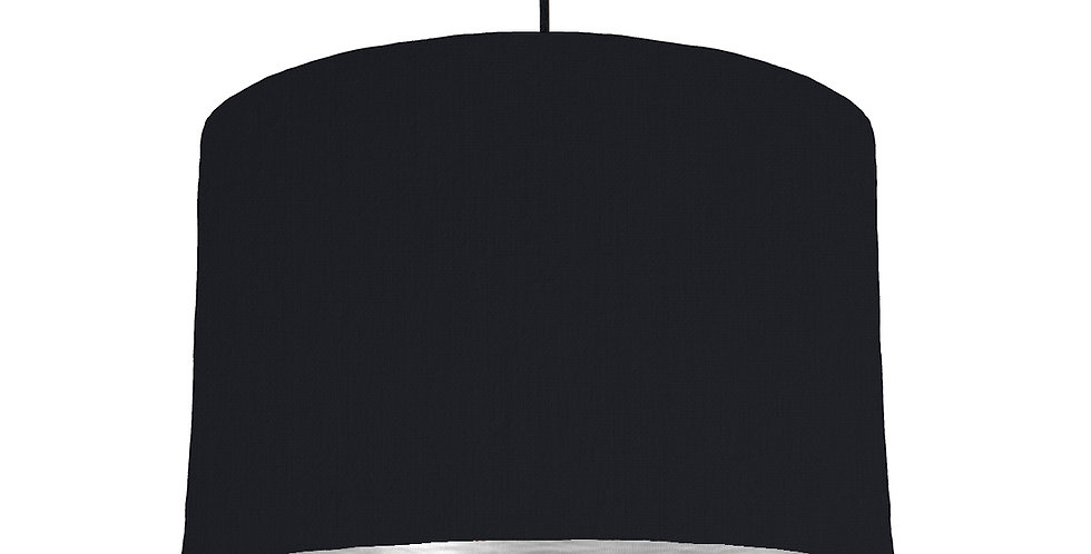 Black & Brushed Silver Lampshade - 30cm Wide
