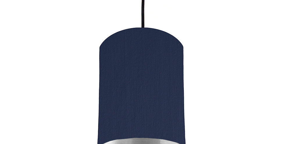 Navy & Silver Mirrored Lampshade - 15cm Wide