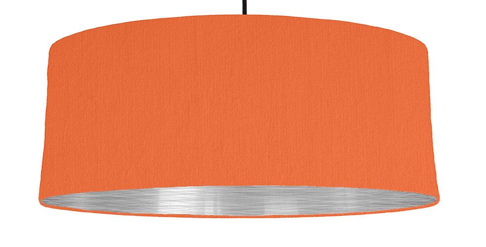 Orange & Brushed Silver Lampshade - 70cm Wide