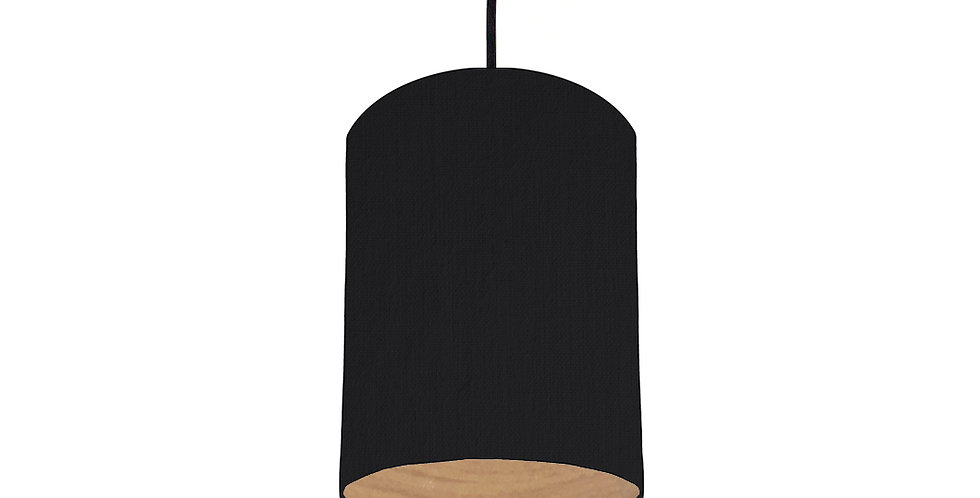 Black & Wood Lined Lampshade - 15cm Wide