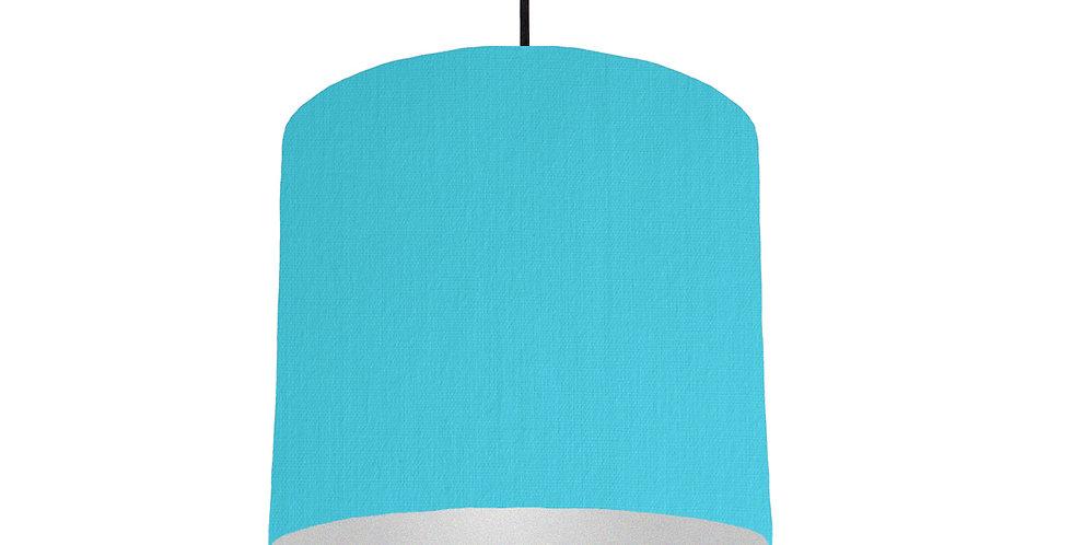 Turquoise & Silver Matt Lampshade - 25cm Wide