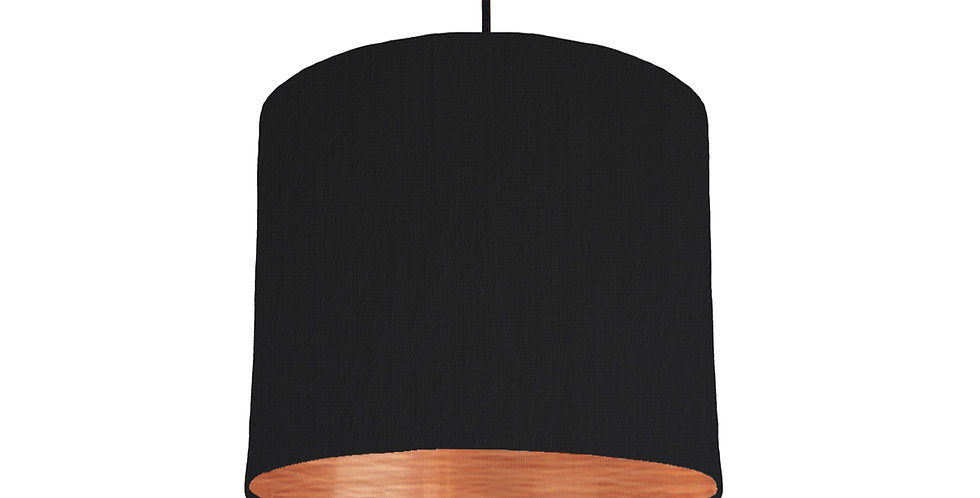Black & Brushed Copper Lampshade - 25cm Wide