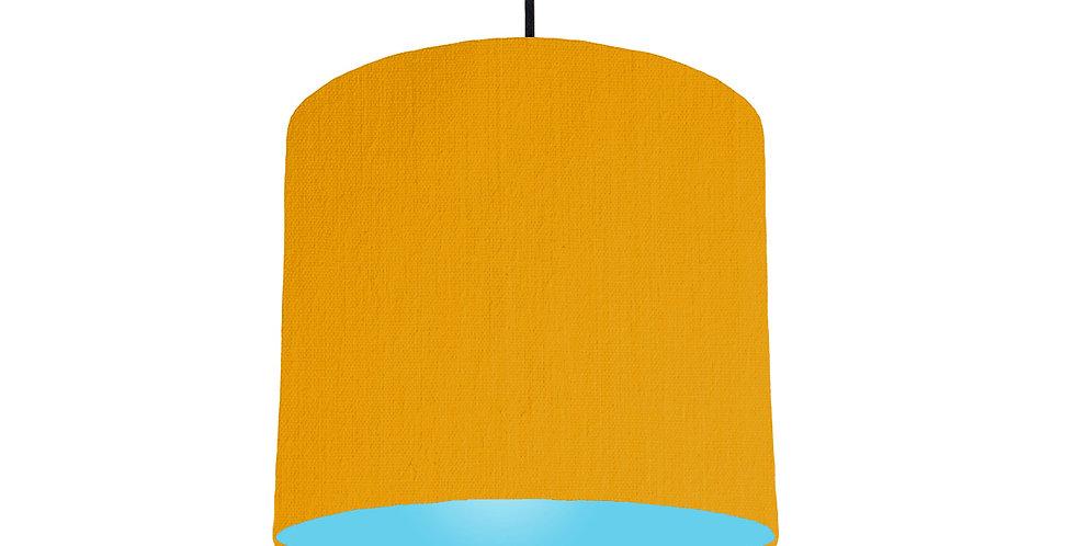 Mustard & Light Blue Lampshade - 25cm Wide