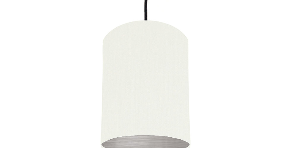 White & Brushed Silver Lampshade - 15cm Wide