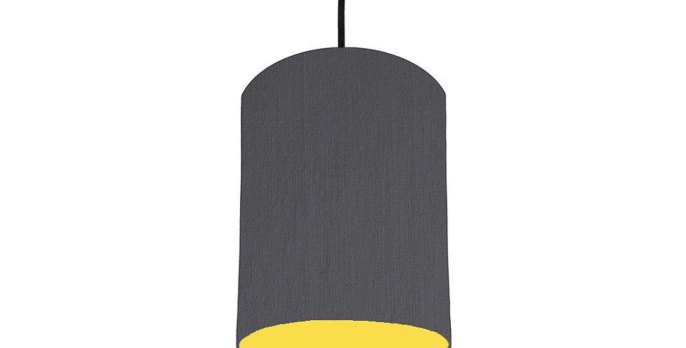 Dark Grey & Butter Yellow Lampshade - 15cm Wide