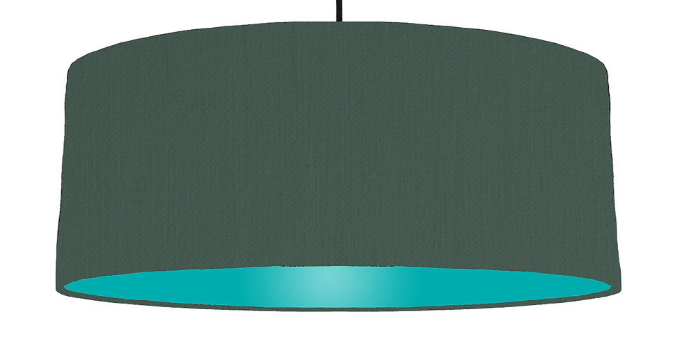 Bottle Green & Turquoise Lampshade - 70cm Wide