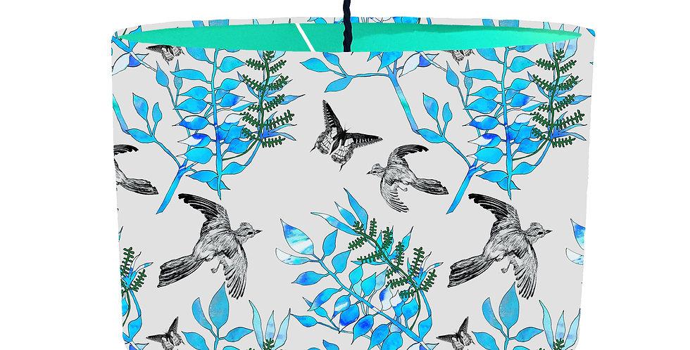 Botanical Bird Lampshade (Grey) - Colour Lining