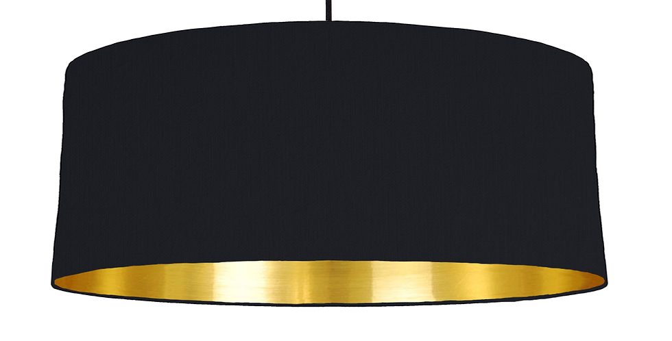 Black & Gold Mirrored Lampshade - 70cm Wide