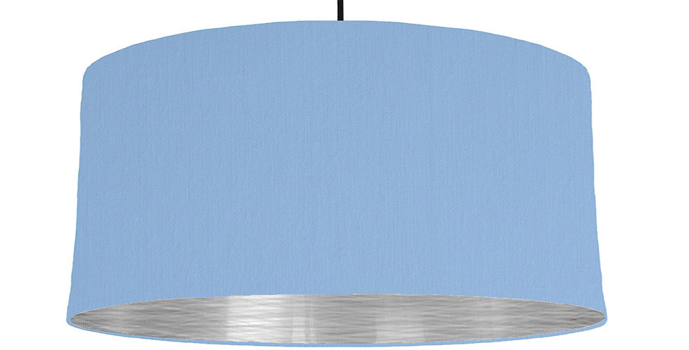 Sky Blue & Brushed Silver Lampshade - 60cm Wide