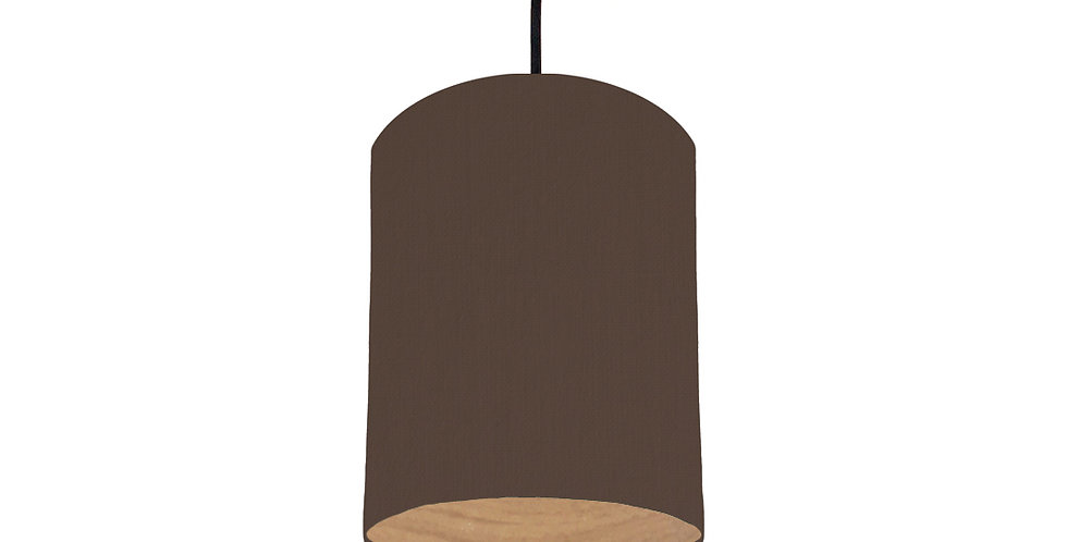 Brown & Wood Lined Lampshade - 15cm Wide
