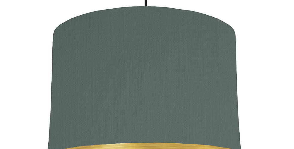 Bottle Green & Brushed Gold Lampshade - 30cm Wide