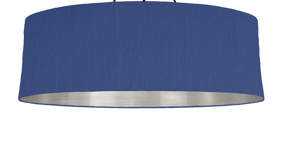 Royal Blue & Brushed Silver Lampshade - 100cm Wide