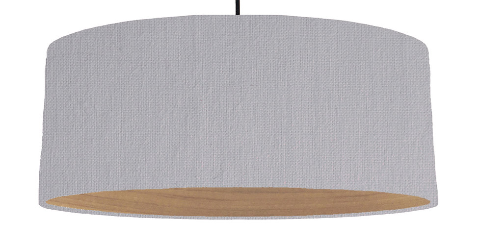 Light Grey & Wooden Lined Lampshade - 70cm Wide