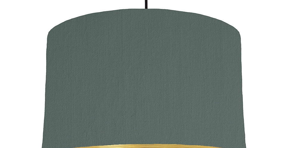Bottle Green & Brushed Gold Lampshade - 40cm Wide