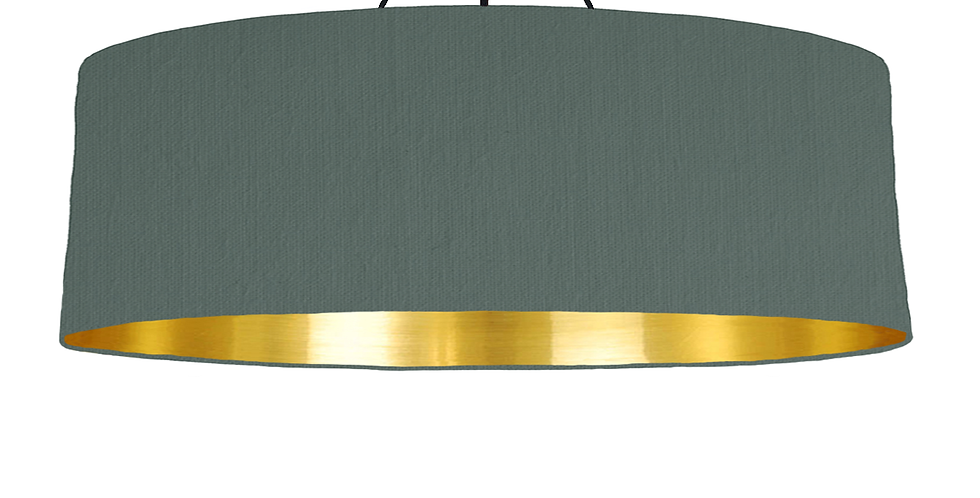 Bottle Green & Gold Mirrored Lampshade - 100cm Wide