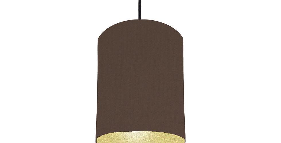 Brown & Gold Matt Lampshade - 15cm Wide