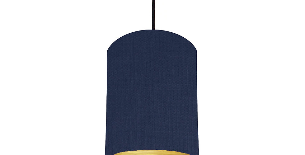 Navy & Brushed Gold Lampshade - 15cm Wide