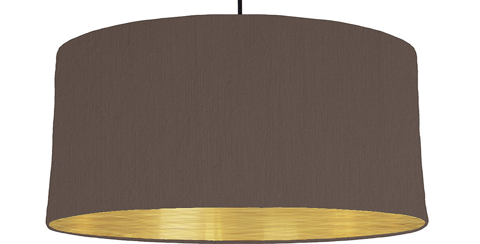 Brown & Brushed Gold Lampshade - 60cm Wide