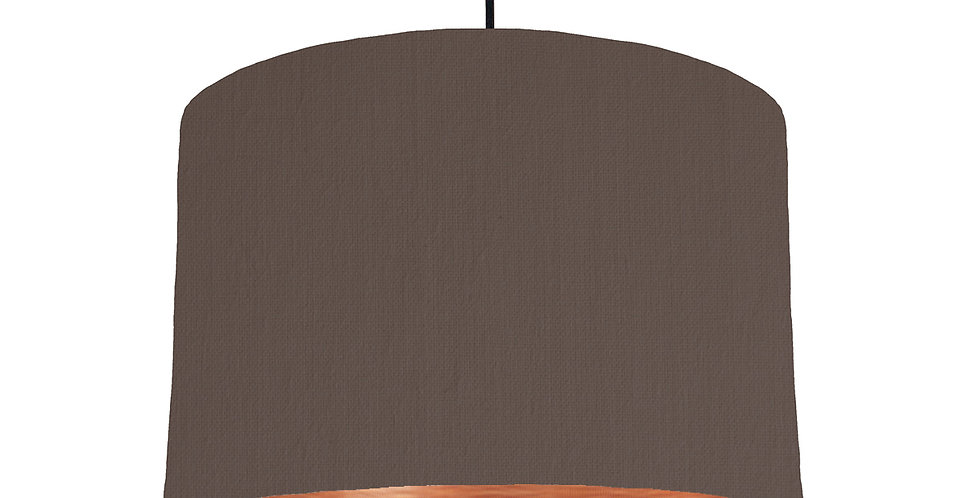 Brown & Brushed Copper Lampshade - 30cm Wide