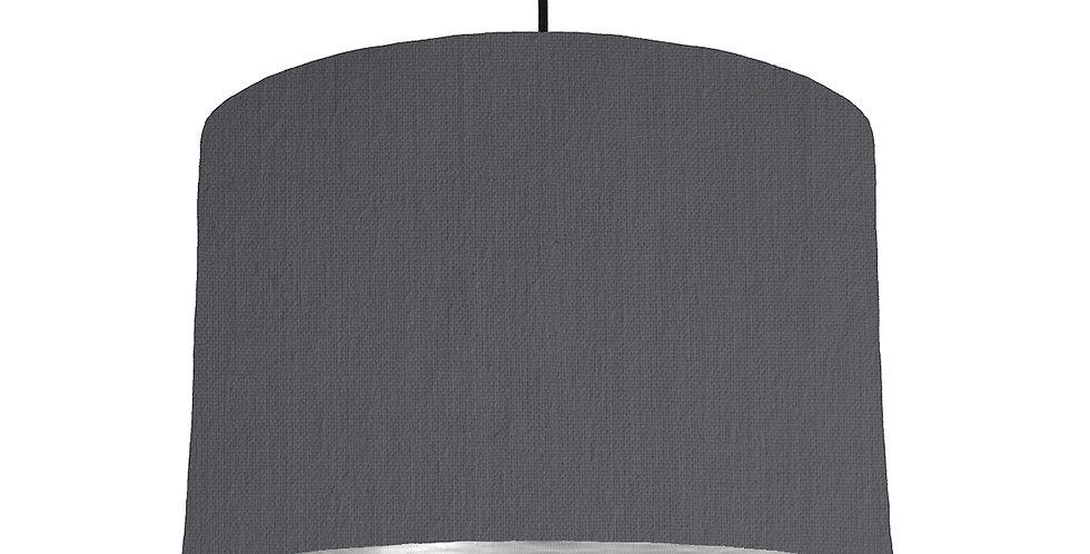 Dark Grey & Brushed Silver Lampshade - 30cm Wide
