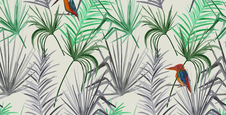 Tropical Bird Fabric - Grey