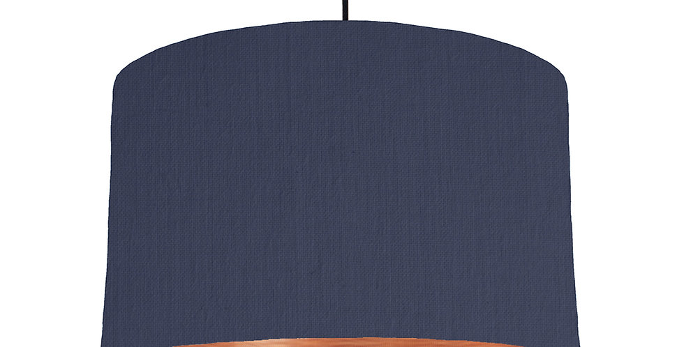 Navy & Brushed Copper Lampshade - 40cm Wide