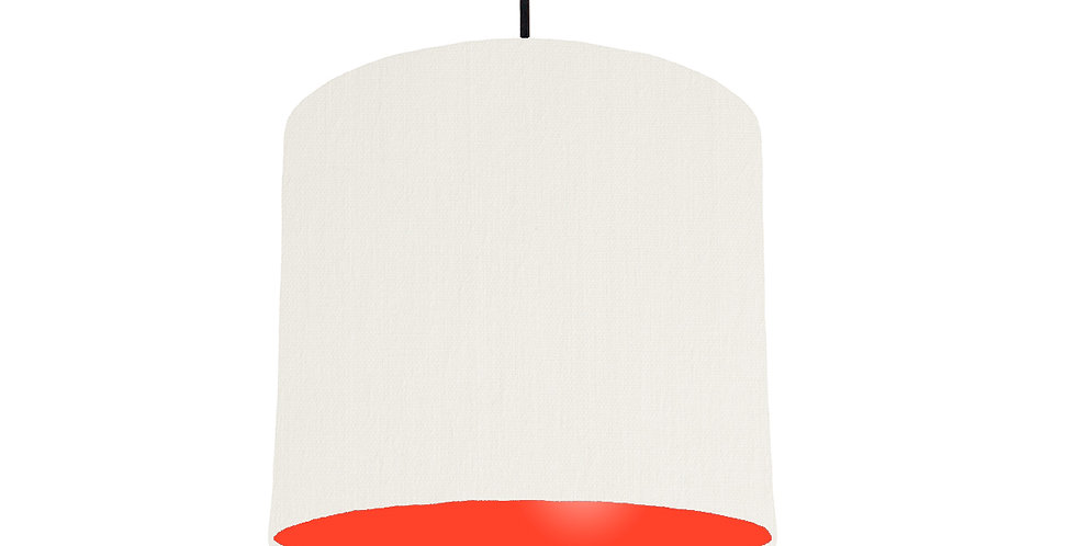 White & Poppy Red Lampshade - 25cm Wide