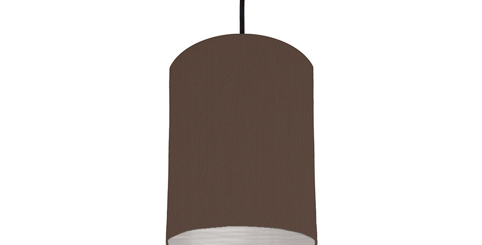 Brown & Brushed Silver Lampshade - 15cm Wide