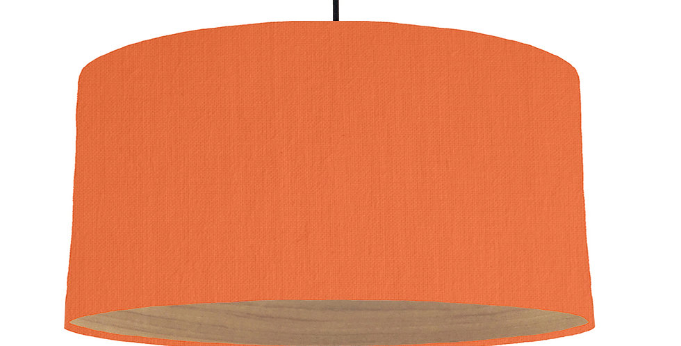Orange & Wooden Lined Lampshade - 60cm Wide