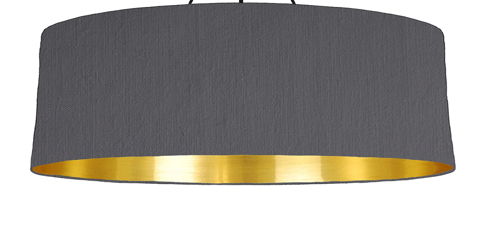 Dark Grey & Gold Mirrored Lampshade - 100cm Wide